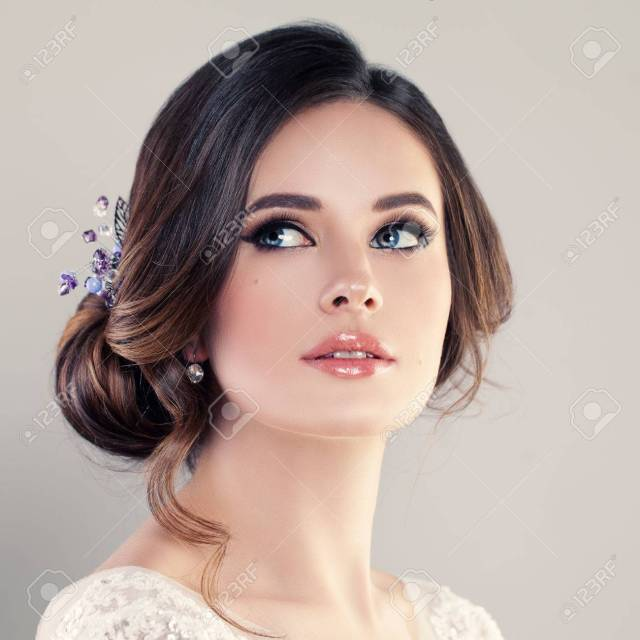 beautiful bride with makeup and bridal hairstyle. pretty woman..