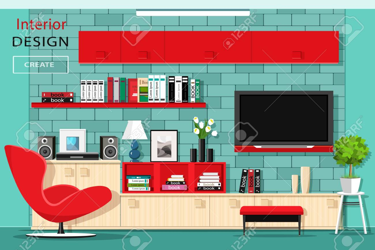 Red Living Room Chair Modern Graphic Living Room Furniture With Tv Wall Stylish Room