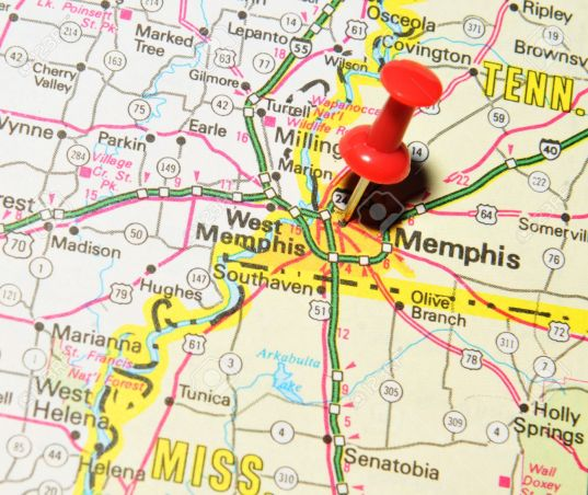 Memphis map red push pin