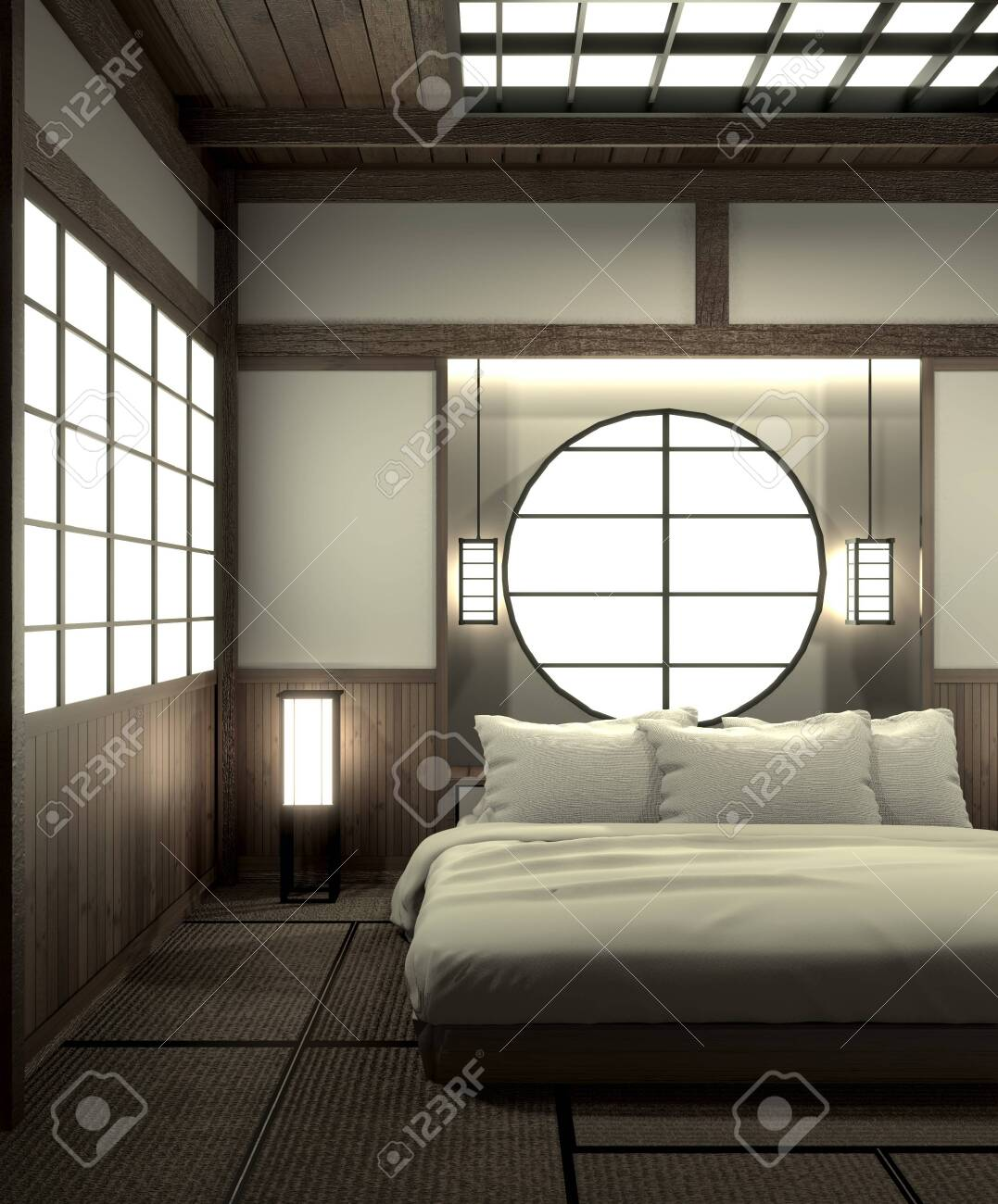 Modern Japanese Bedroom : modern, japanese, bedroom, Bedroom, Modern, Interior, Design, Decoration, Japanese, Style.3D.., Stock, Photo,, Picture, Royalty, Image., Image, 127103871.