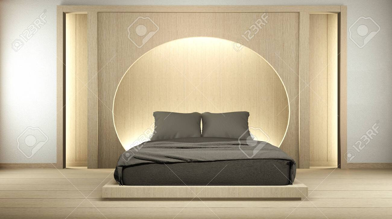 Modern Zen Peaceful Bedroom Japan Style Bedroom With Shelf Circle Stock Photo Picture And Royalty Free Image Image 142346872