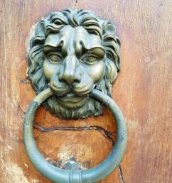 antique brass door knocker in the shape of a lion s head with large ring in [ 975 x 1300 Pixel ]