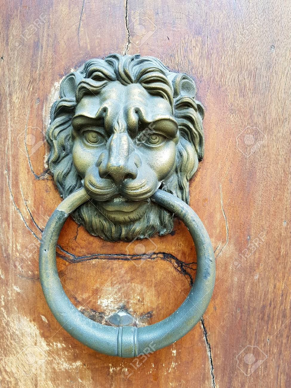hight resolution of antique brass door knocker in the shape of a lion s head with large ring in