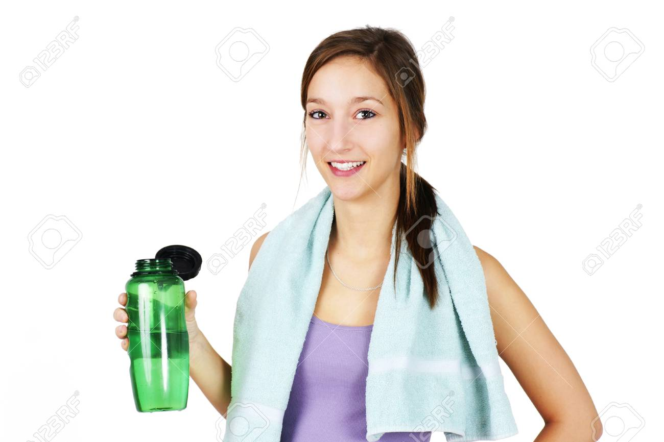 Towell Handtuch Cute Healthy And Sporty Young Woman With Towell On Shoulders
