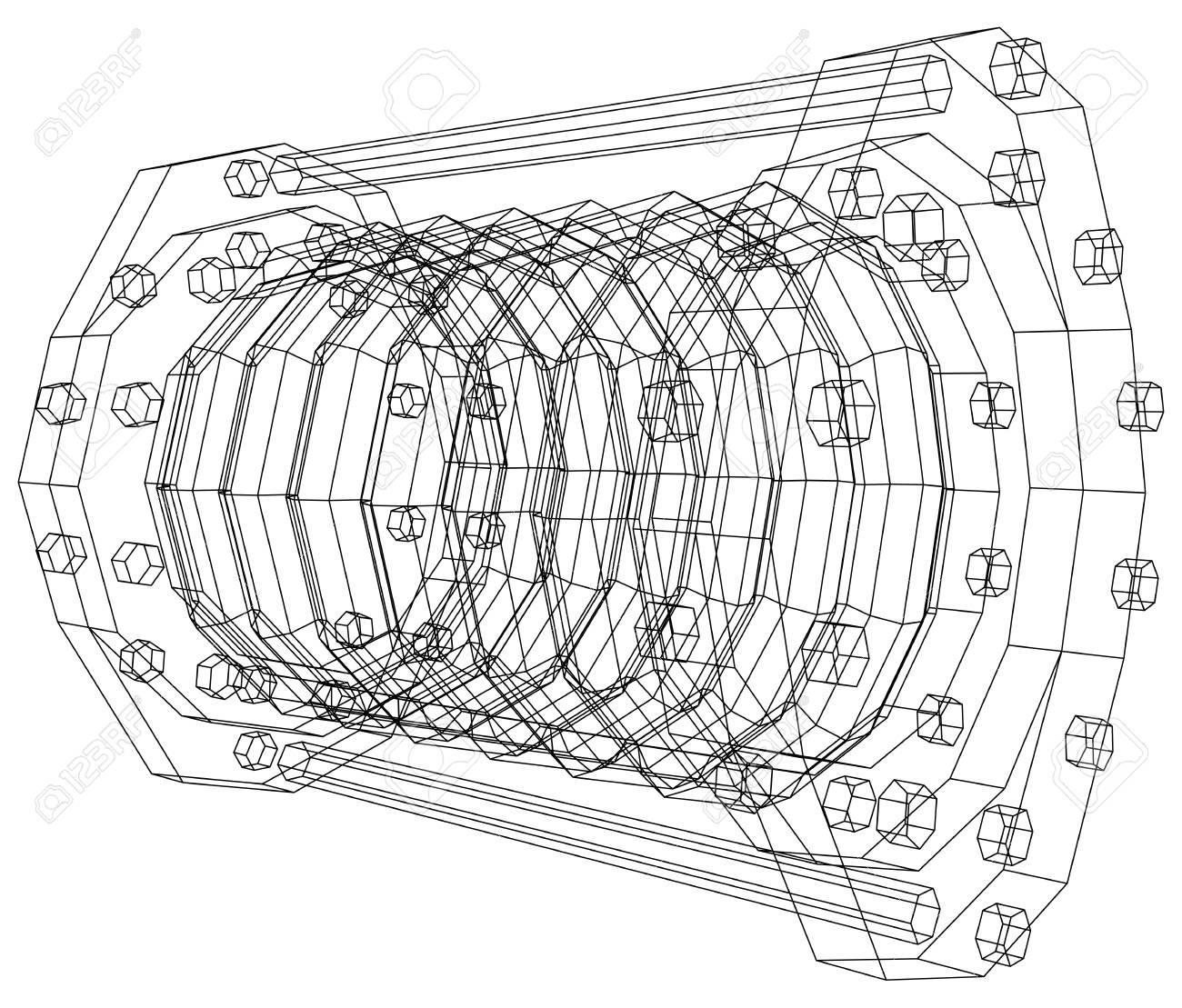 Wire frame industrial equipment oil flowmeter eps 10 vector