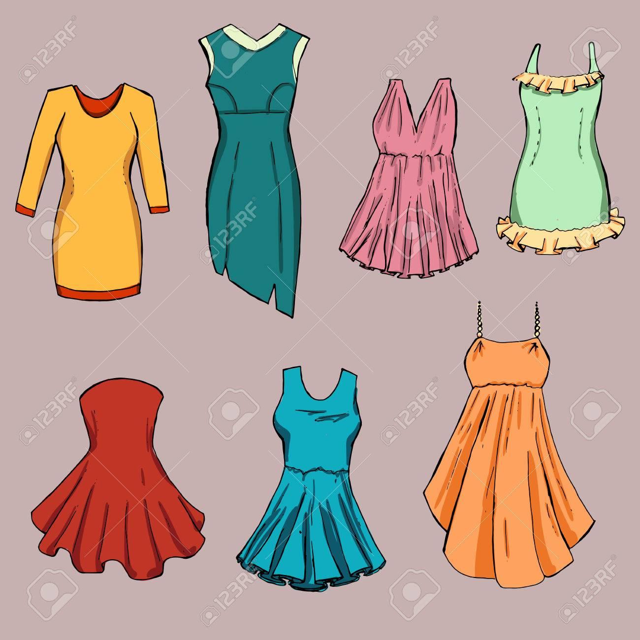 fashion set different dresses