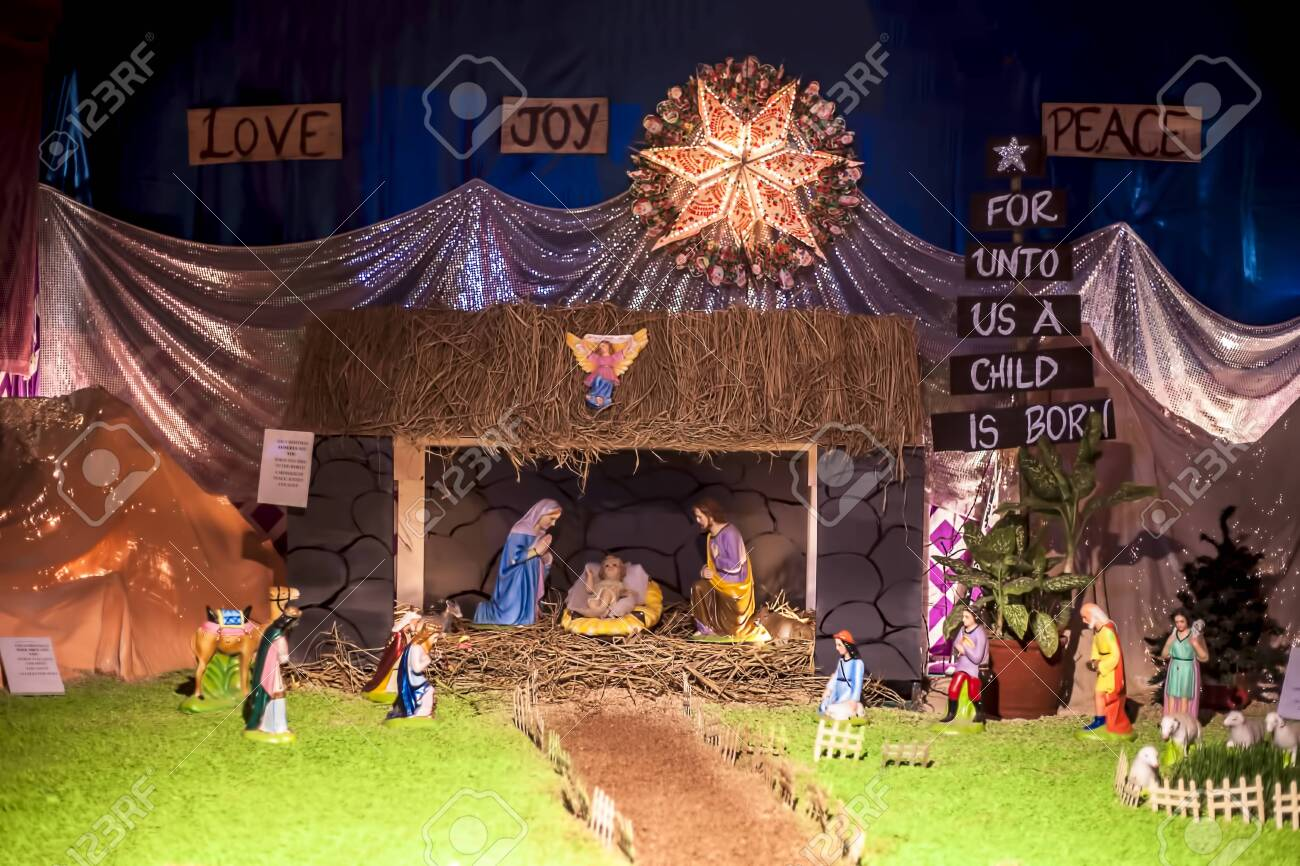 Close Up Of Decorative House Made Of Jesus Christ With Mother Stock Photo Picture And Royalty Free Image Image 122164014
