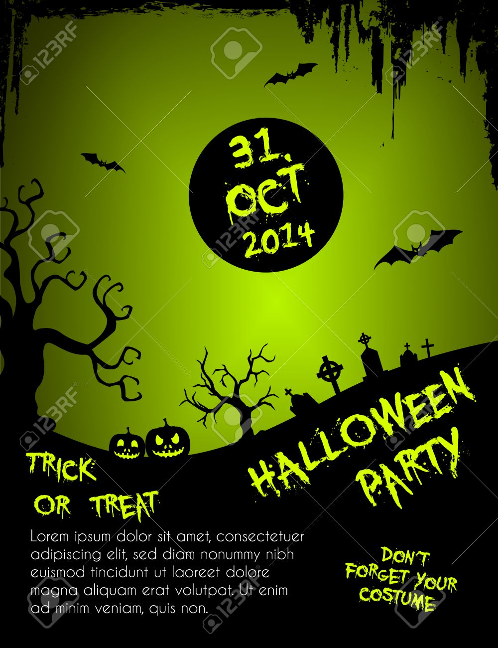 Halloween Party Flyer Template Green And Black Royalty Free - Halloween Party  Flyer Template