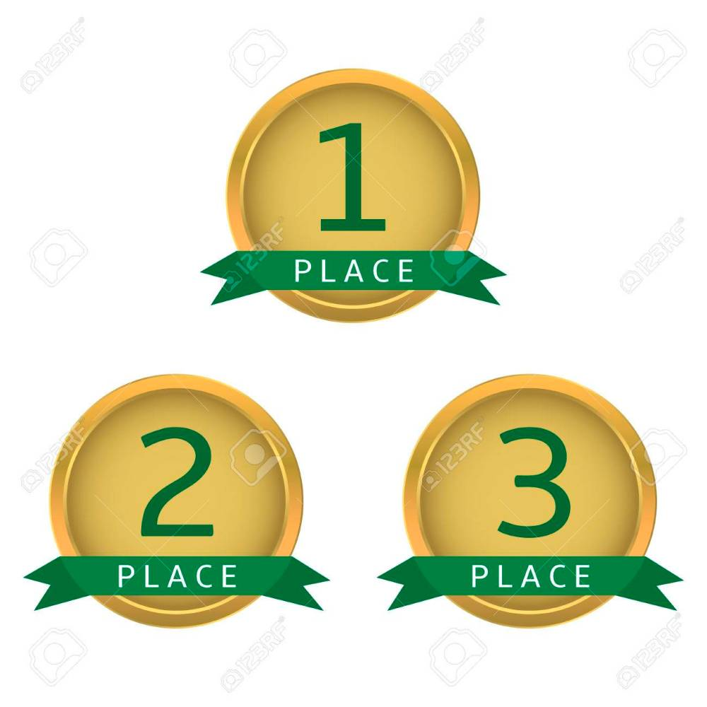 medium resolution of first place second place third place golden labels with