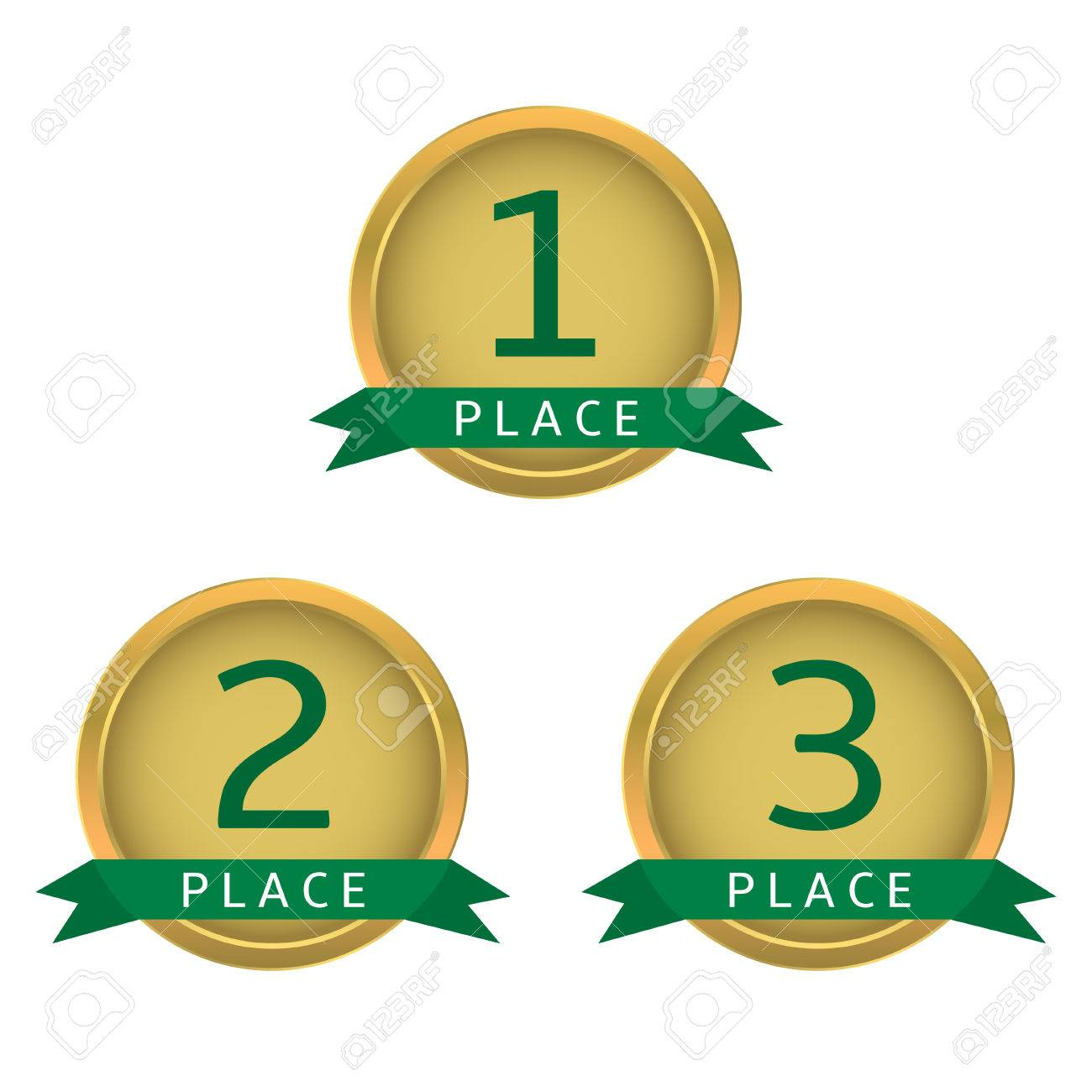 hight resolution of first place second place third place golden labels with