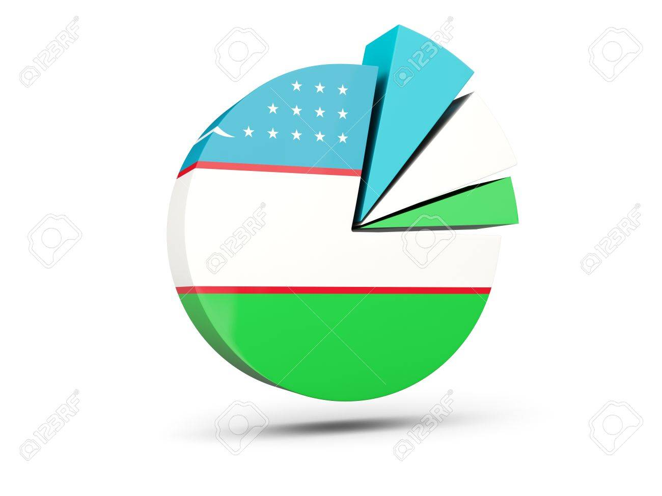 hight resolution of flag of uzbekistan round diagram icon isolated on white 3d illustration stock illustration