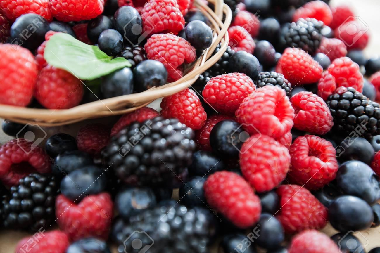 freshly raspberry blueberry and