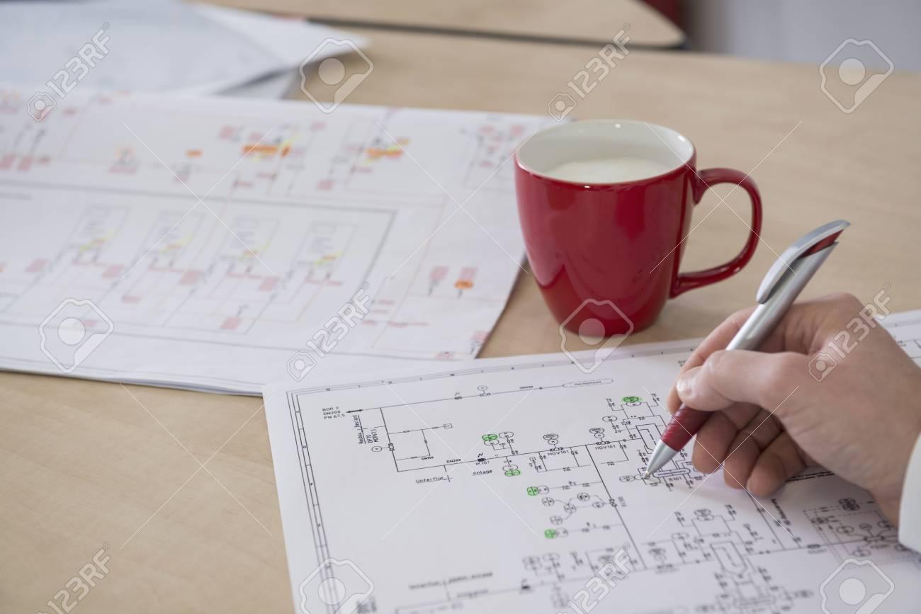 hight resolution of engineer analysing wiring diagram munich bavaria germany stock photo 79679824
