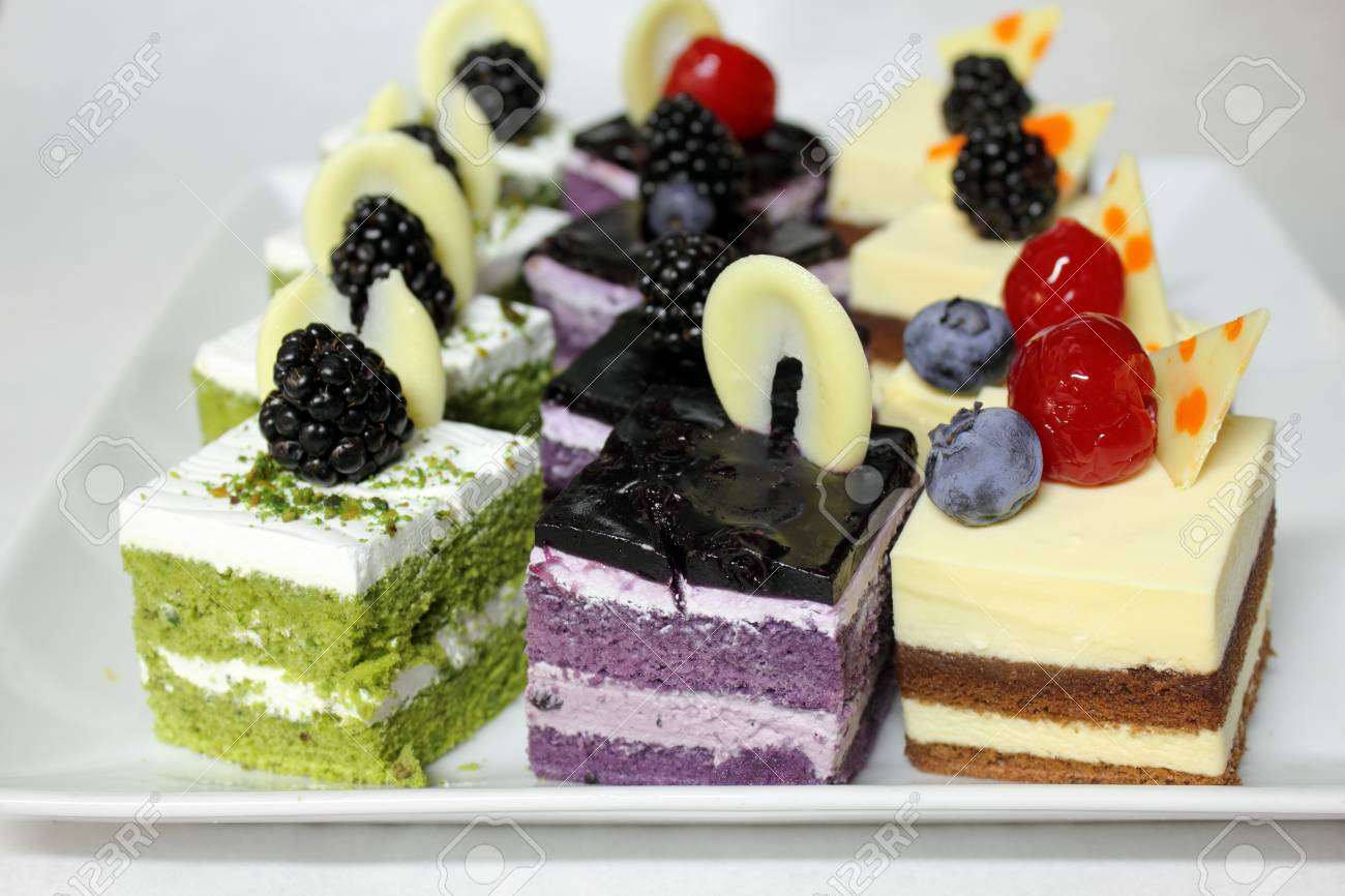 A Assorted Mini Cake Delicious And Beautiful Stock Photo Picture