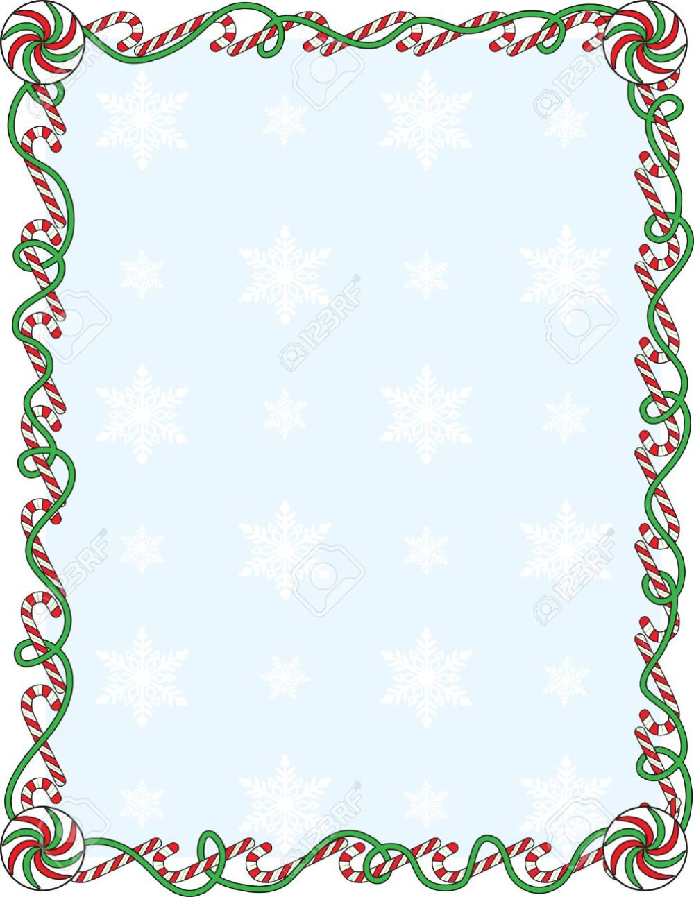 medium resolution of a border or frame with candy canes and ribbons stock vector 5799892