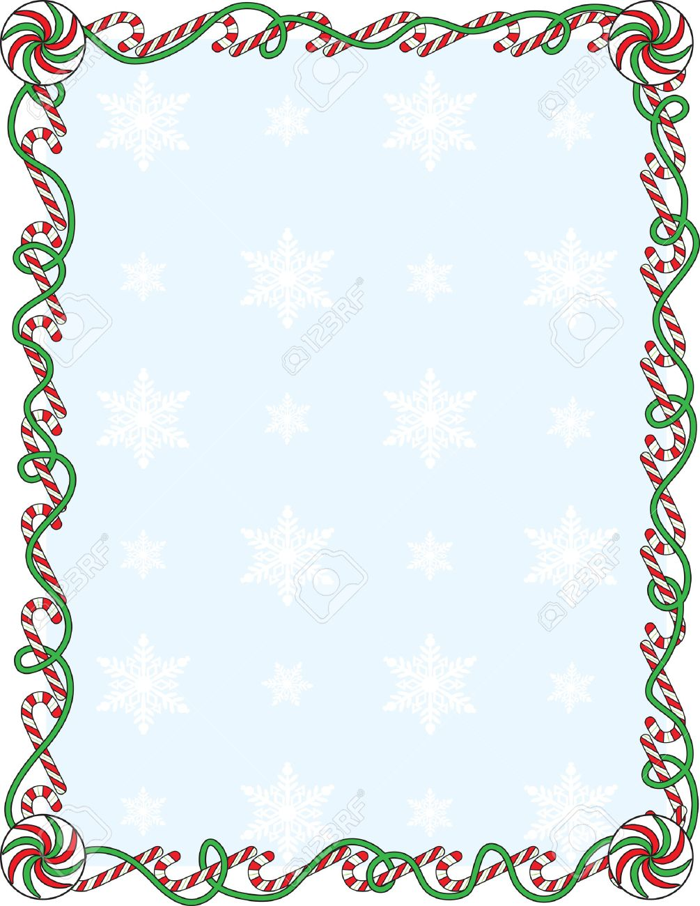 hight resolution of a border or frame with candy canes and ribbons stock vector 5799892