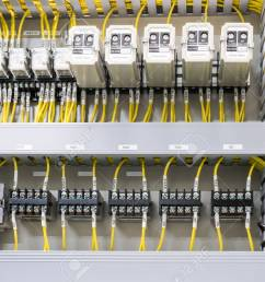 electrical panel at a assembly line factory electricity distribution box wires in electrical cabinet [ 1300 x 889 Pixel ]