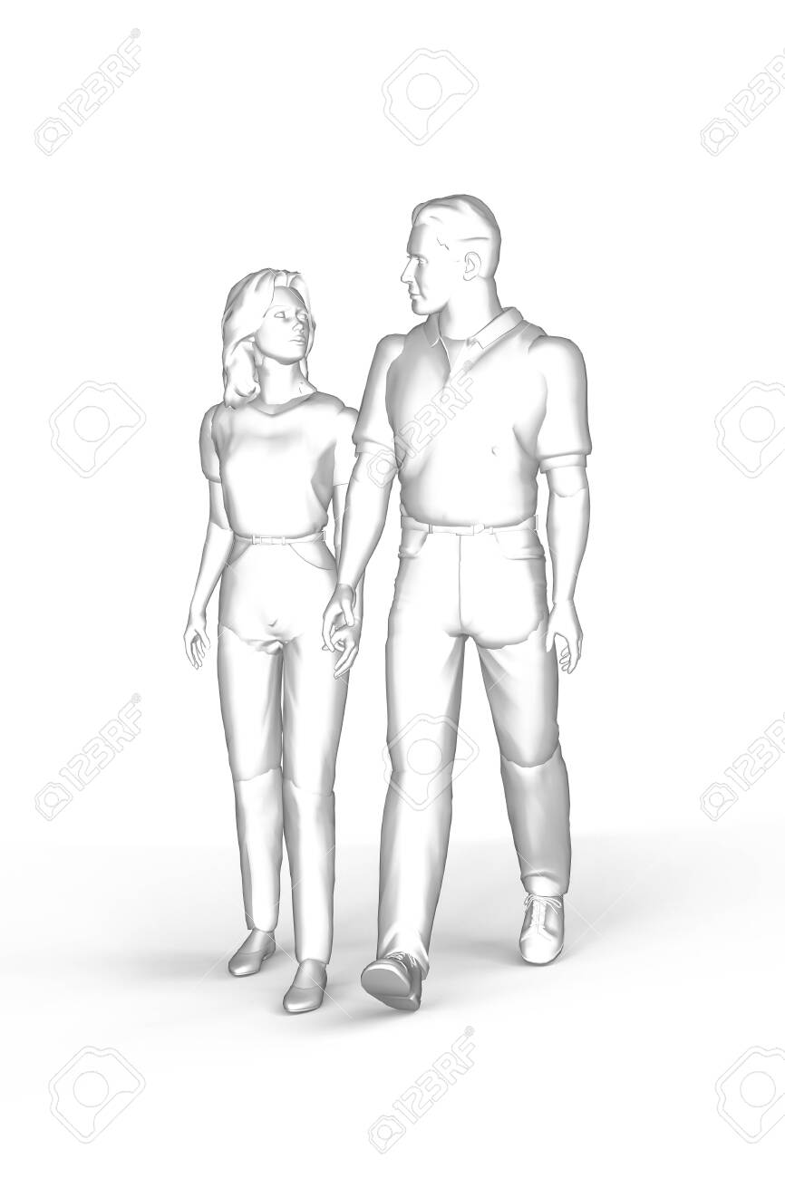 Girl And Boy Holding Hands Drawing : holding, hands, drawing, Woman, Walking, Holding, Hands, The.., Stock, Photo,, Picture, Royalty, Image., Image, 154292375.