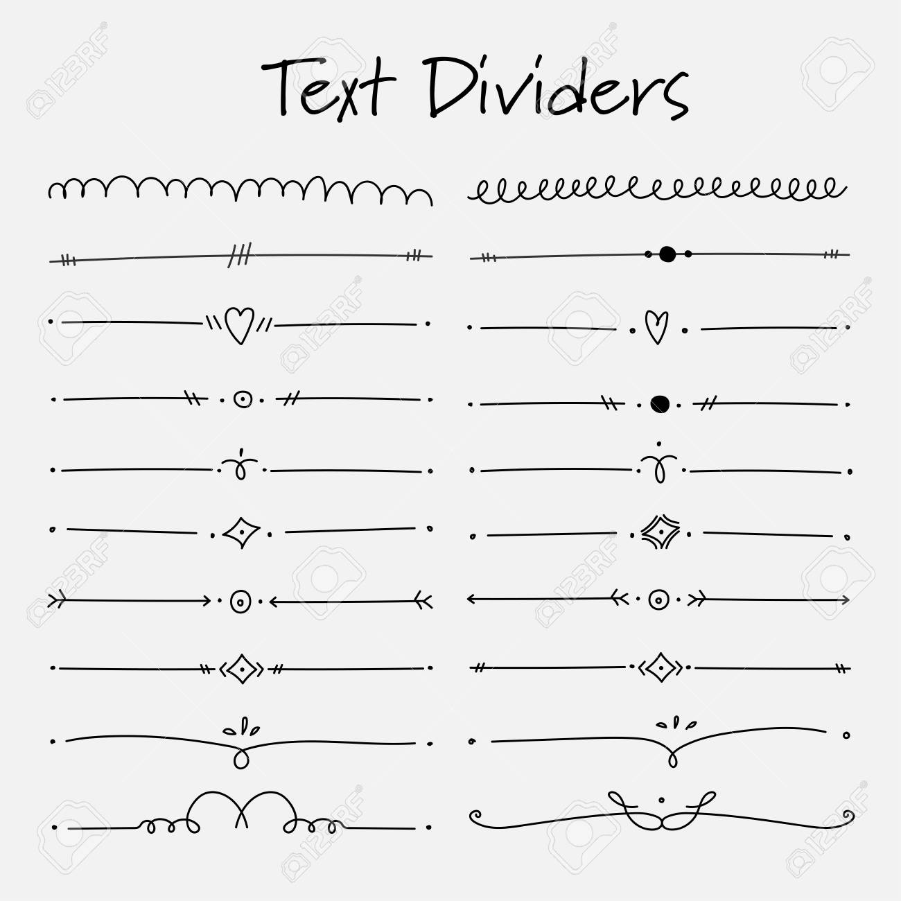 set of text dividers