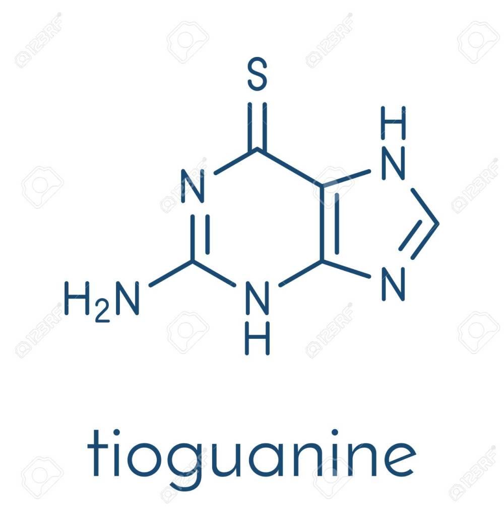 medium resolution of tioguanine leukemia and ulcerative colitis drug molecule skeletal formula stock vector 91297712