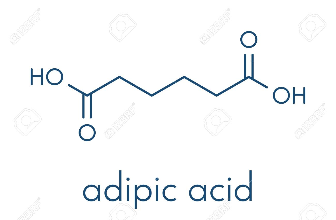 hight resolution of adipic acid nylon building block molecule monomer used in production of nylon polyamide polymer