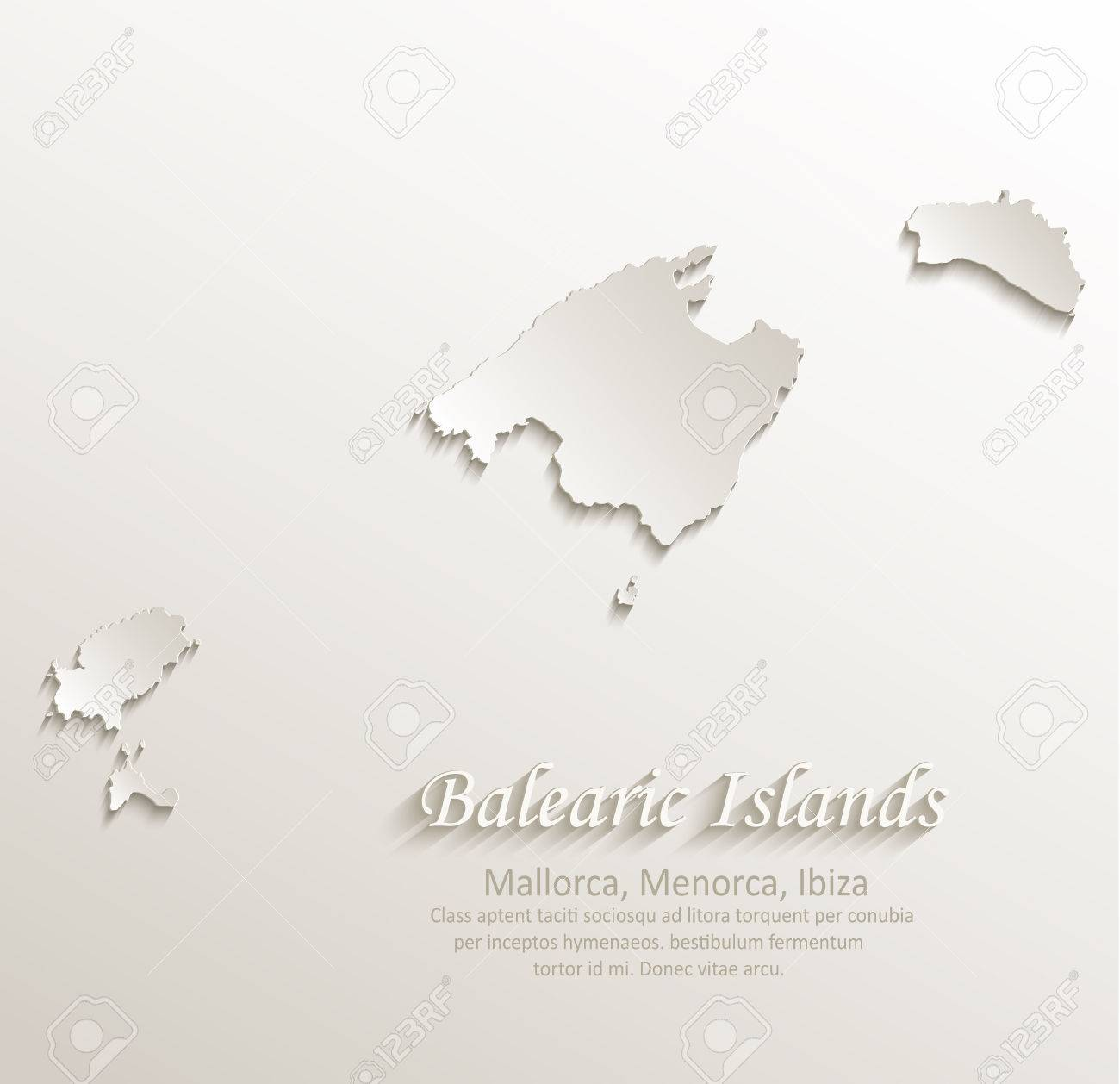 balearen mallorca menorca ibiza karte kartenpapier 3d naturlicher vektor