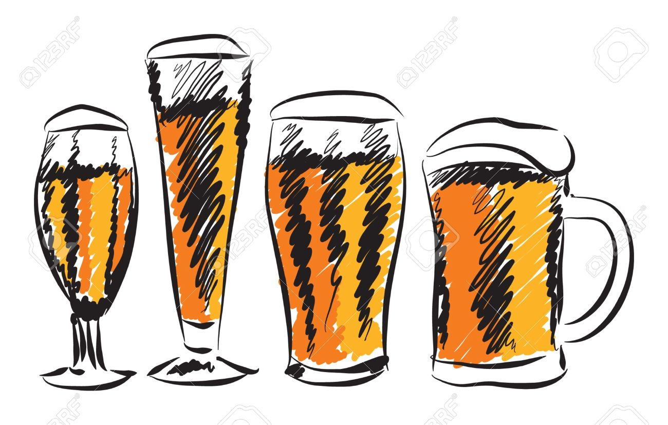 hight resolution of beer glasses illustration stock vector 19161706