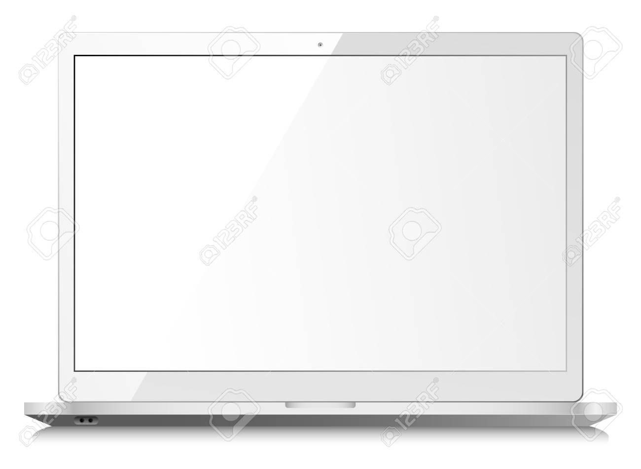 ordinateur portable blanc brillant sur fond blanc avec ecran vide