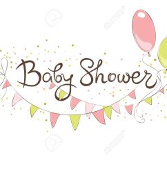 baby shower banner for girl funny vector illustration with balloons and flags stock vector  [ 1300 x 1047 Pixel ]