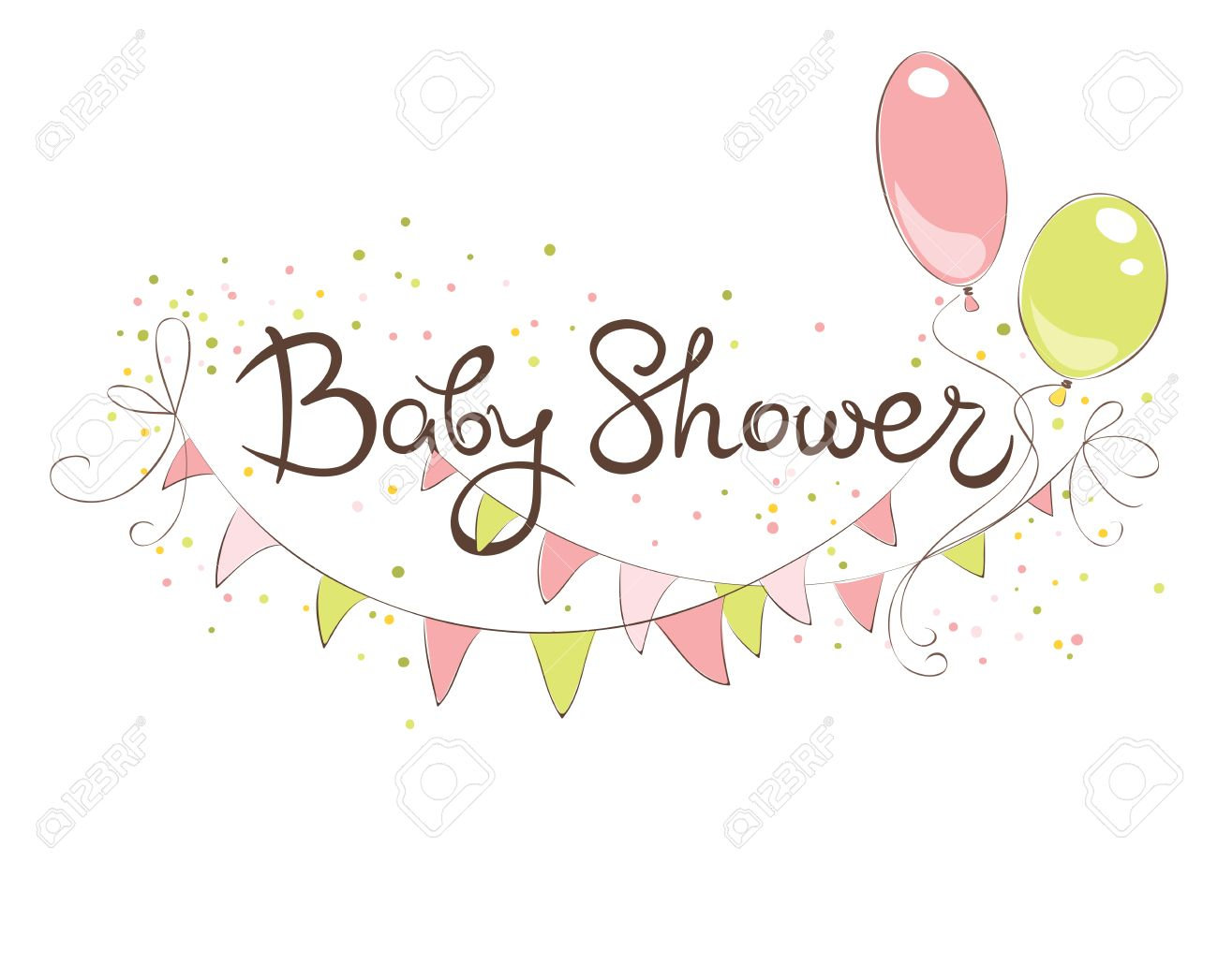 hight resolution of baby shower banner for girl funny vector illustration with balloons and flags stock vector