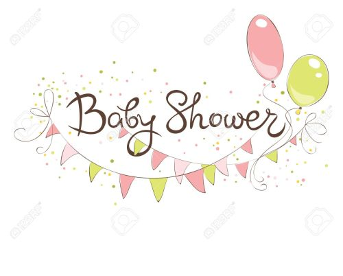 small resolution of baby shower banner for girl funny vector illustration with balloons and flags stock vector