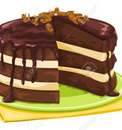 vector vector illustration of chocolate cake with missing slice  [ 1300 x 882 Pixel ]