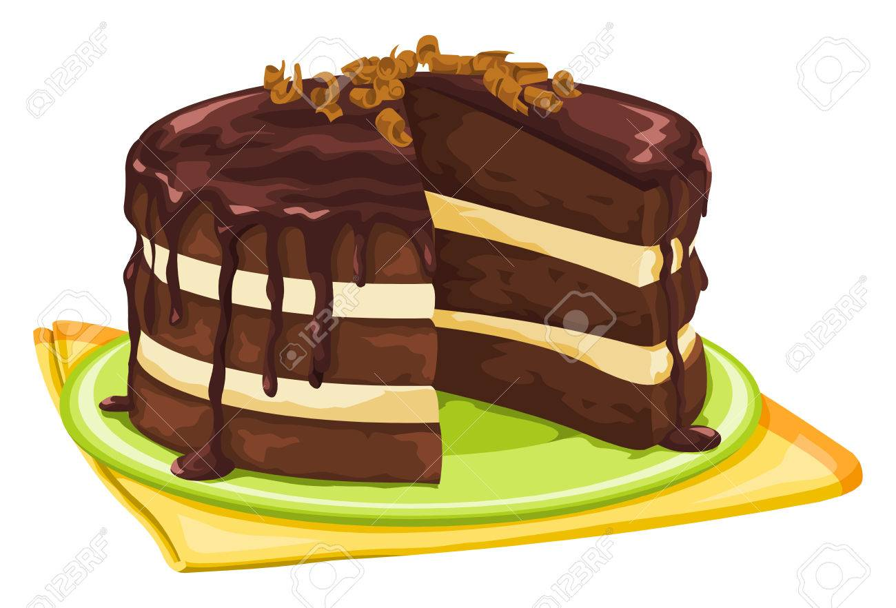 hight resolution of vector vector illustration of chocolate cake with missing slice