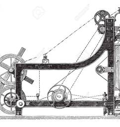 making machine rope yarn called a swing bridge vintage engraved illustration industrial encyclopedia [ 1300 x 1057 Pixel ]