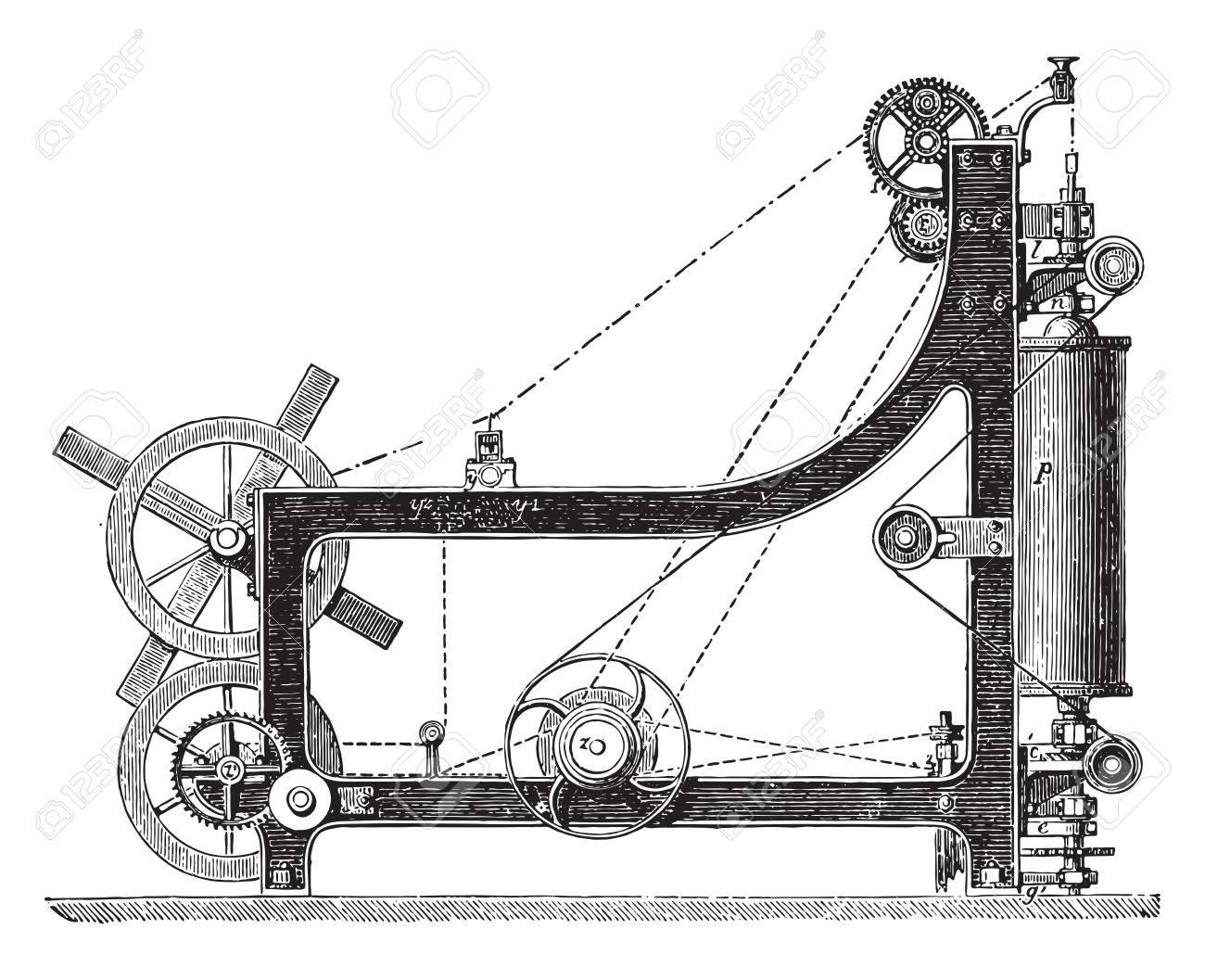 hight resolution of making machine rope yarn called a swing bridge vintage engraved illustration industrial encyclopedia