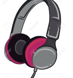 a wired headphone in grey and pink color vector color drawing or illustration stock vector  [ 1005 x 1300 Pixel ]