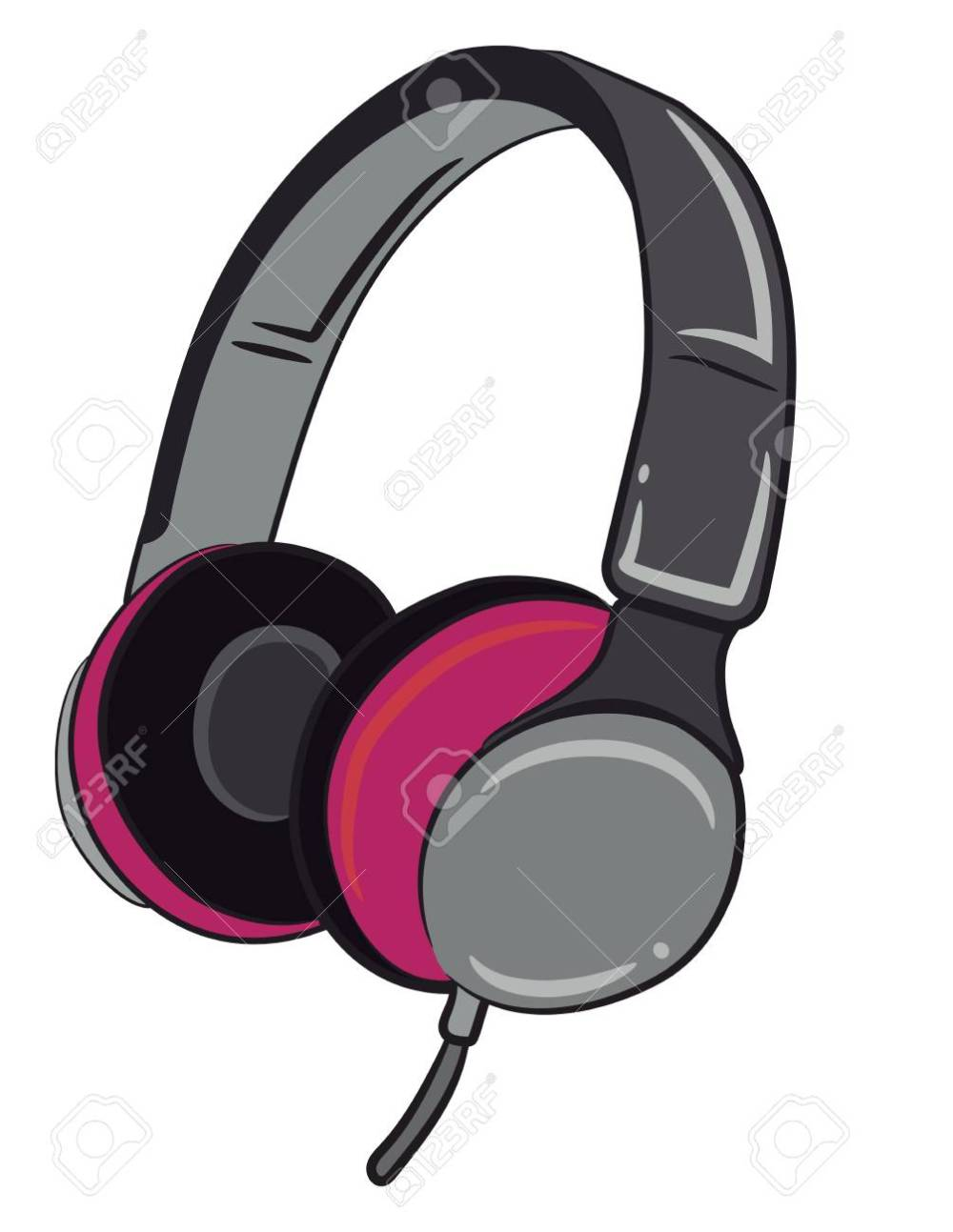 medium resolution of a wired headphone in grey and pink color vector color drawing or illustration stock vector