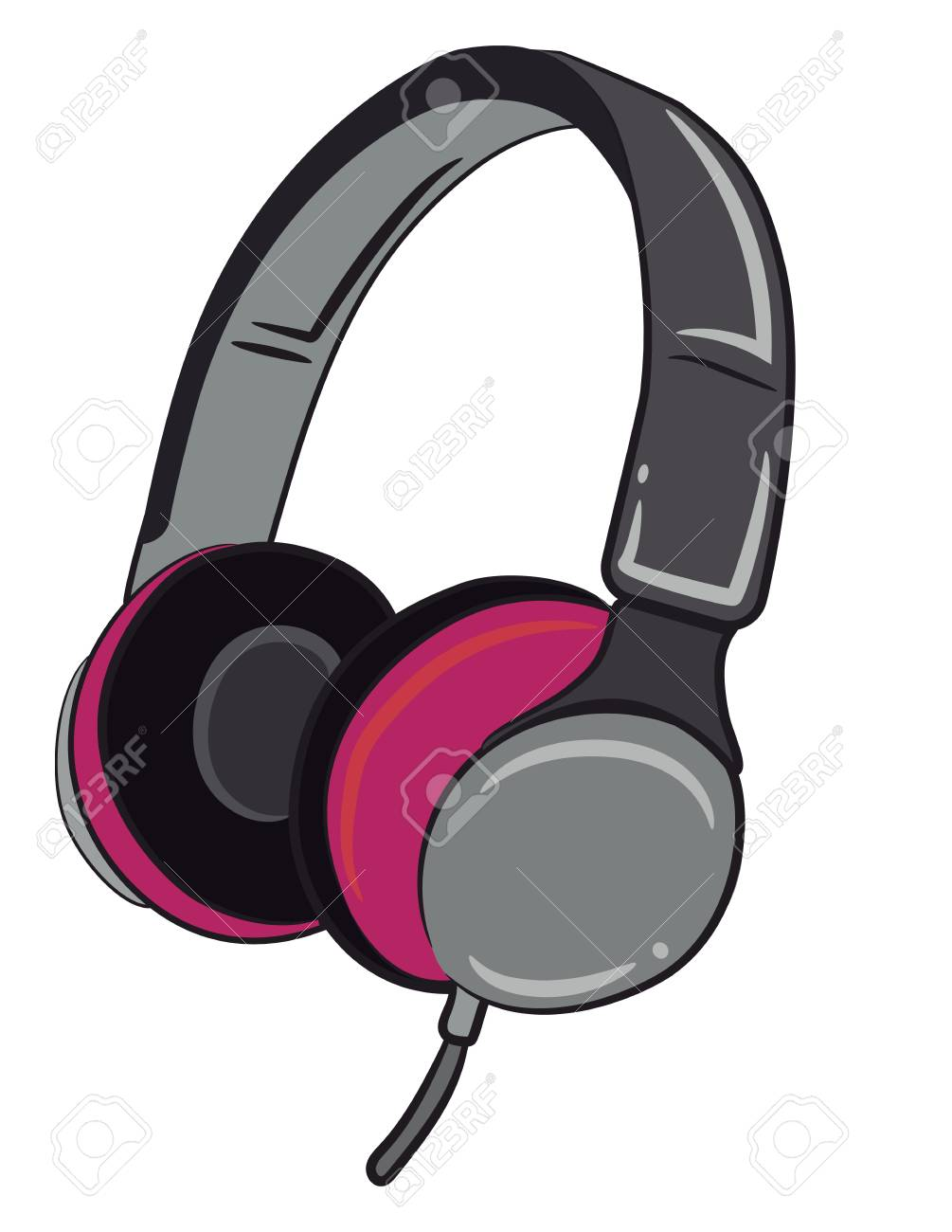 hight resolution of a wired headphone in grey and pink color vector color drawing or illustration stock vector