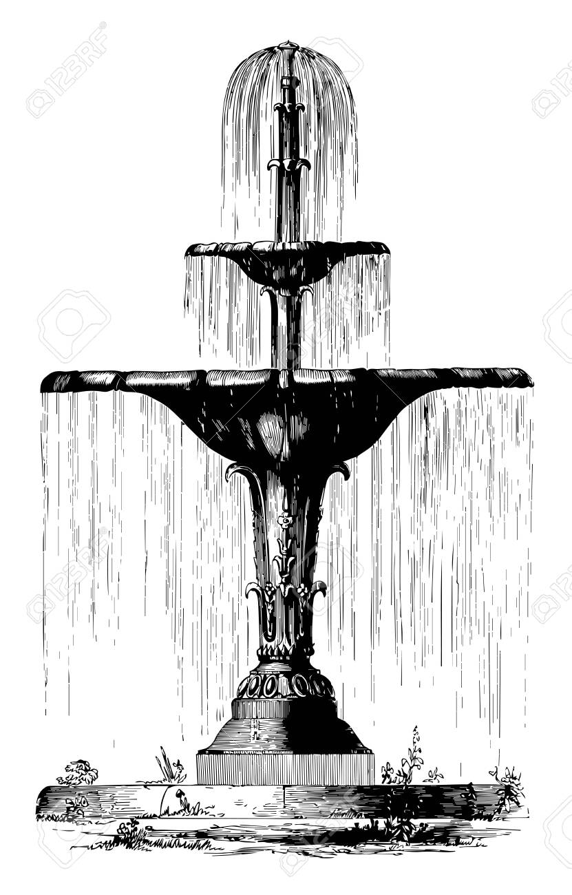 Water Fountain Drawing : water, fountain, drawing, Water, Fountain, Flower, Shapes,, Royalty, Cliparts,, Vectors,, Stock, Illustration., Image, 132798595.