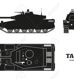 silhouette of realistic tank blueprint armored car on white background top side  [ 1300 x 866 Pixel ]