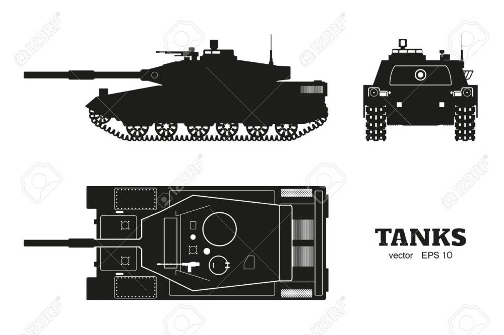 medium resolution of silhouette of realistic tank blueprint armored car on white background top side