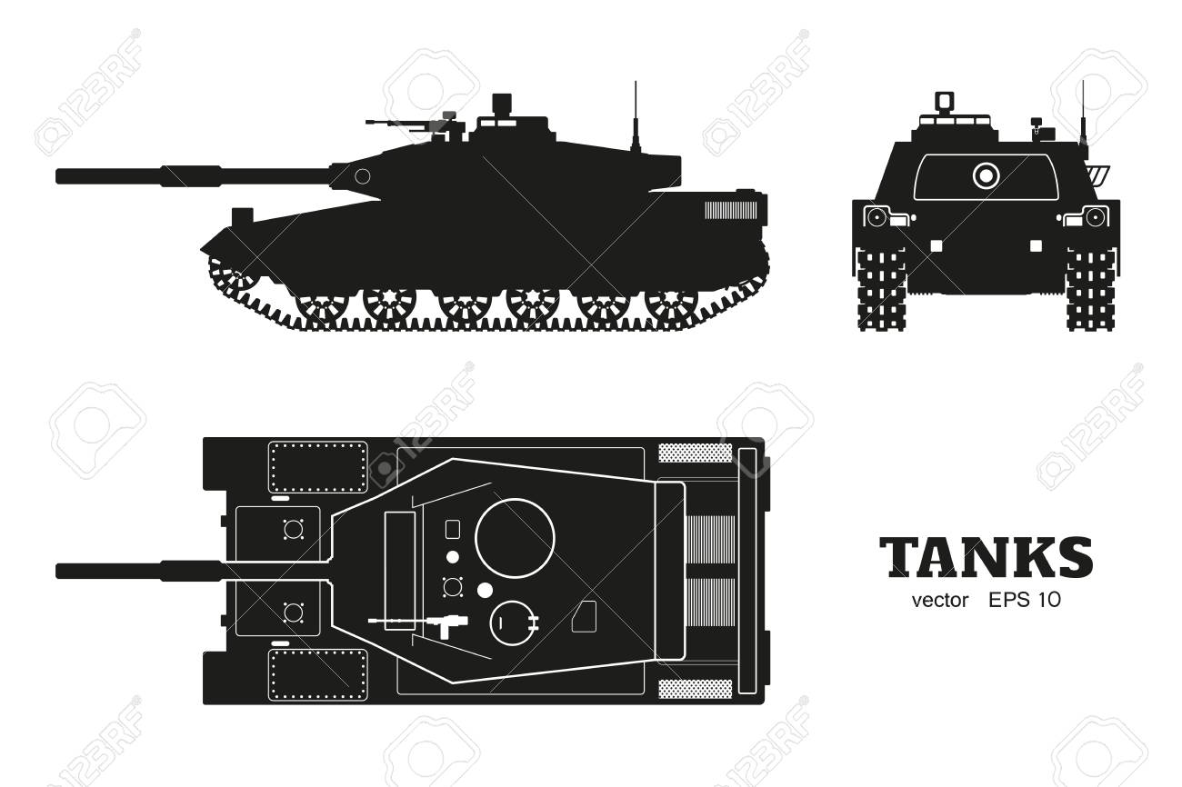 hight resolution of silhouette of realistic tank blueprint armored car on white background top side
