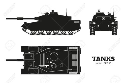 small resolution of silhouette of realistic tank blueprint armored car on white background top side