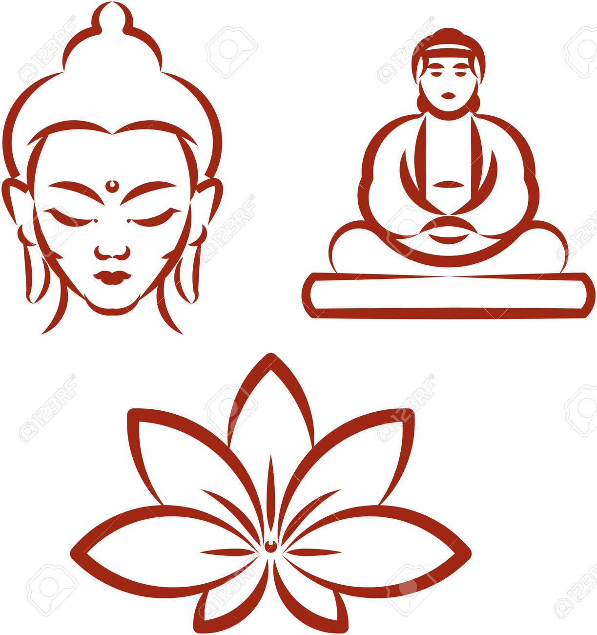 hight resolution of buddha and lotus symbols of buddhism stock vector 53058262
