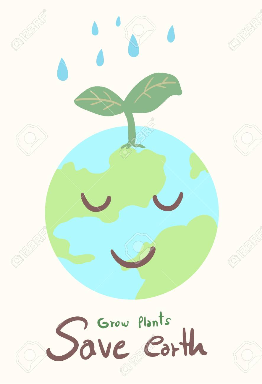 Cute Earth Cartoon : earth, cartoon, Earth, Cartoon, Concept, Plant, Water, Royalty, Cliparts,, Vectors,, Stock, Illustration., Image, 127122984.