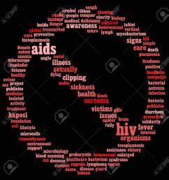 hiv aids info text graphics and arrangement symbol concept on black background stock photo  [ 1277 x 1300 Pixel ]