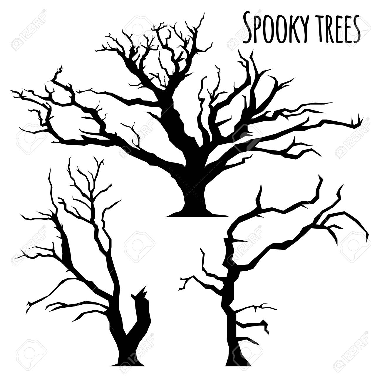 hight resolution of collection of spooky trees silhouettes on the white background stock vector 86963745