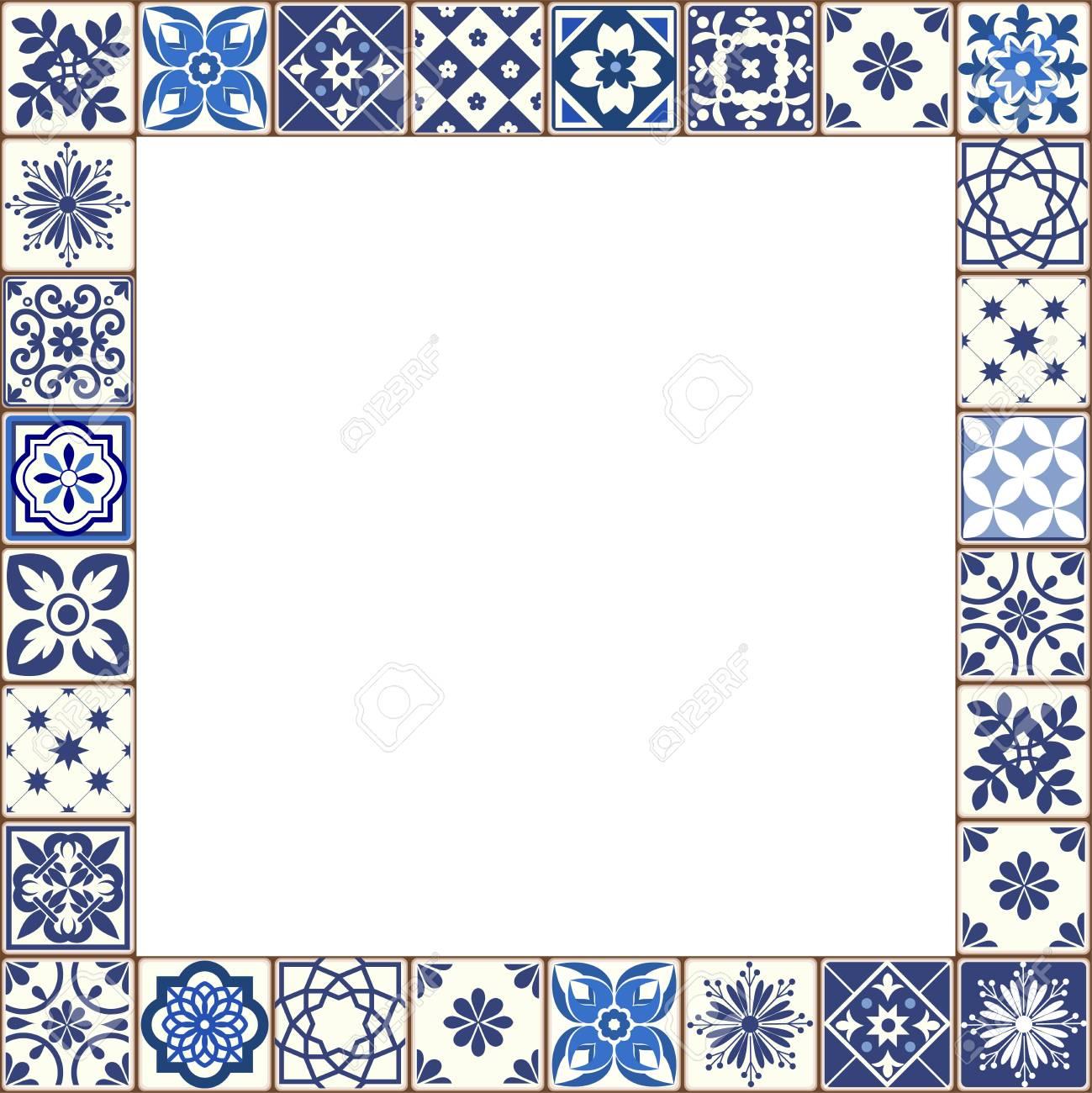 beautiful azulejo tiles vector frame
