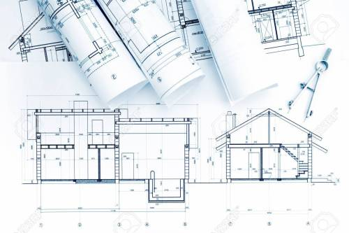 small resolution of home plans and blueprint rolls with drawing compass on desk stock photo 57394848