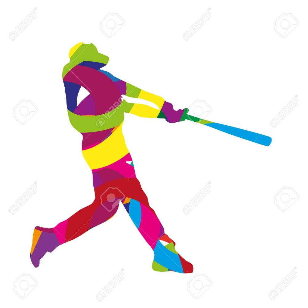medium resolution of abstract colorful baseball batter stock vector 38567068